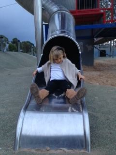 Coco on big slide